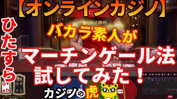 #246【オンラインカジノ|バカラ】バカラ素人がひたすらマーチンゲール法を試してみた!